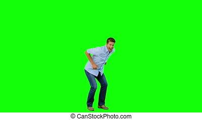 sauter, homme, vert, faire gestes