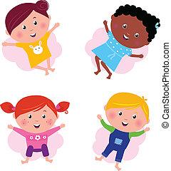 sauter, multi, différent, isolé, -, culturel, vecteur, enfants, w
