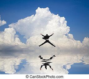 sauter, nuage, eau, homme affaires, fond, reflet