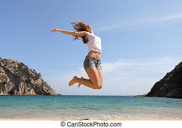 sauter, plage, heureux, adolescent