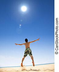 sauter, plage, jeune homme, heureux