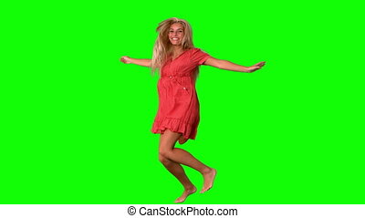 sauter, séduisant, vert, blond