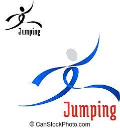 sauter, sports, athlète, résumé, emblème