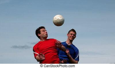 sauter, tac, football, haut, joueurs