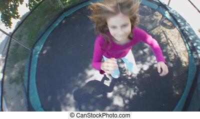 sauter, trampoli, gai, enfant