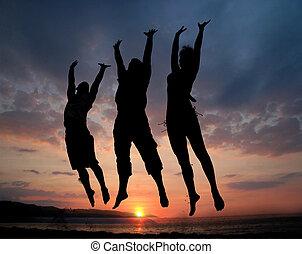 sauter, trois personnes