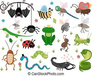 sauterelle, mignon, insectes, abeille, lézard, vecteur, serpent, reptiles.