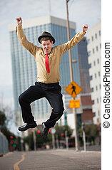sauts, homme affaires, air