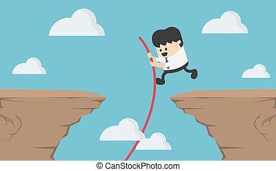 sauts, jeune, sur, homme, escarpé, falaise, business