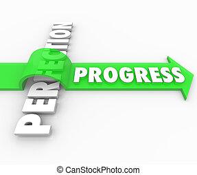 sauts, mouvement, perfection, flèche, en avant!, progrès, sur, améliorer