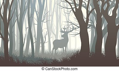 sauvage, élan, illustration, wood.