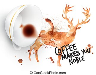 sauvage, affiche, café, cerf
