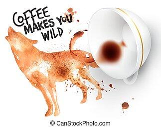 sauvage, affiche, café, loup
