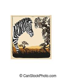 sauvage, afrique, zebra, carte