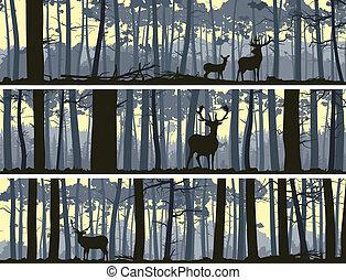 sauvage, bannières, animaux, wood.