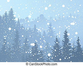 sauvage, conifère, forest., neigeux