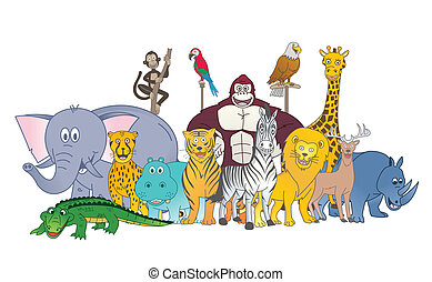sauvage, couleur, groupe, animal
