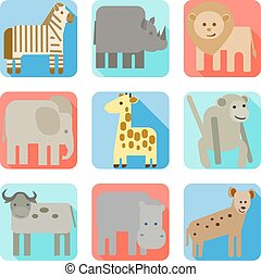 sauvage, icônes, animaux, afrique