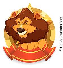 sauvage, lion, bannière, gabarit