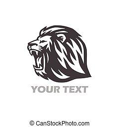 sauvage, logo, lion, tête