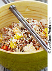 sauvage, remuer-faire frire, riz, tofu