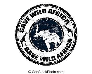 sauvage, timbre, sauver, afrique