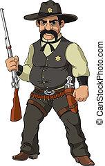 sauvage, west., dessin animé, shérif