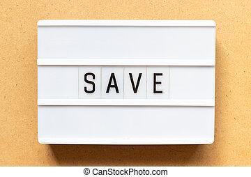 sauver, bois, mot, fond, lightbox