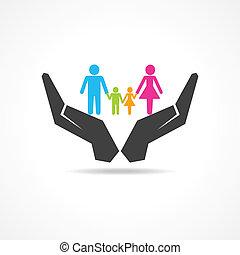 sauver, ou, sous, famille, main, assurer