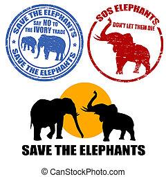 sauver, timbres, éléphants