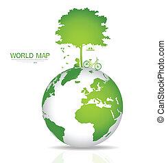 sauver, vecteur, world., illustration