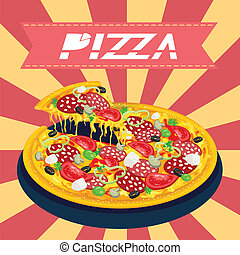 savoureux, retro, pizza
