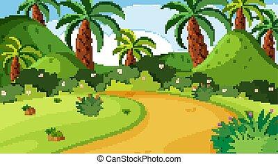 scène, arbres, nature, piste, parc