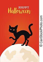 scène, célébration, lune, chat, noir, heureux, halloween