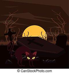 scène, chat, cimetière, halloween, sombre