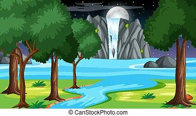 scène, chute eau, forêt, paysage, nuit, nature