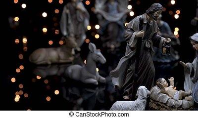 scène crèche, nativité, lumières, figures, noël