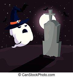 scène, lune, fantôme, cimetière, halloween