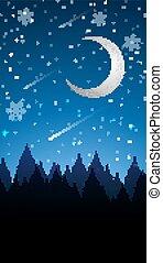 scène, lune, hiver