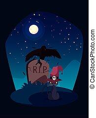 scène, magicien, cimetière, chapeau, chat noir