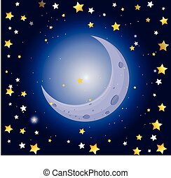 scène nuit, étoiles, lune