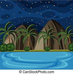scène plage, étoiles, nuit