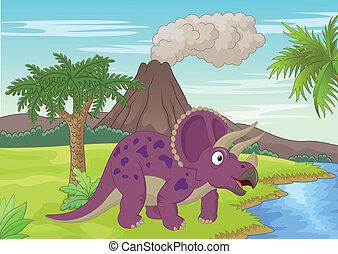 scène, préhistorique, triceratops