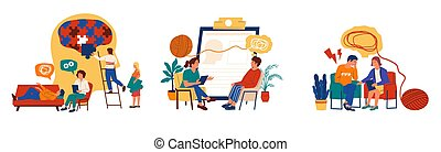 scènes, conversation, vecteur, santé, psychotherapy., psychologist., ensemble, individu, thérapie, psychologie, psychologique, malades, support., mental, sur, accentué, problems., personnes réunion