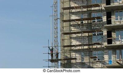 scaffolding., défaillance, constructeurs, droit, temps