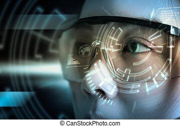 scan., oeil, interface utilisateur, technologie, futuriste, vue