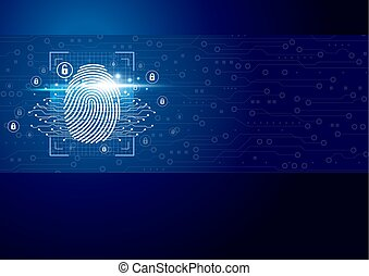 scanner, illustration numérique, vecteur, fond, empreinte doigt, technologie