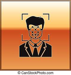 scanner, or, concept., isolé, cyber, figure, id., arrière-plan., vecteur, noir, illustration, facial, identification, icon., sécurité, reconnaissance, icône