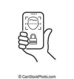 scanning., personne, smartphone, main, système, eps, identification, vecteur, balayages, illustration., reconnaissance, biometric, 10, face., figure, id, concept.