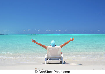 scene., exuma, plage, bahamas